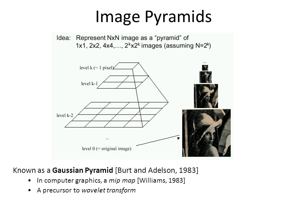 Image Pyramids Known as a Gaussian Pyramid [Burt and Adelson, 1983]